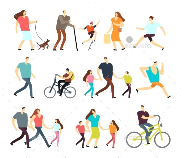 Men and Women Walking Outdoor. Vector Cartoon - People Characters