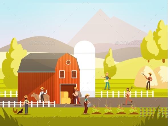 Cartoon Farm with Farmers - Miscellaneous Vectors