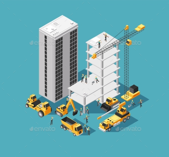 Building Construction Vector 3d Isometric Concept - Buildings Objects