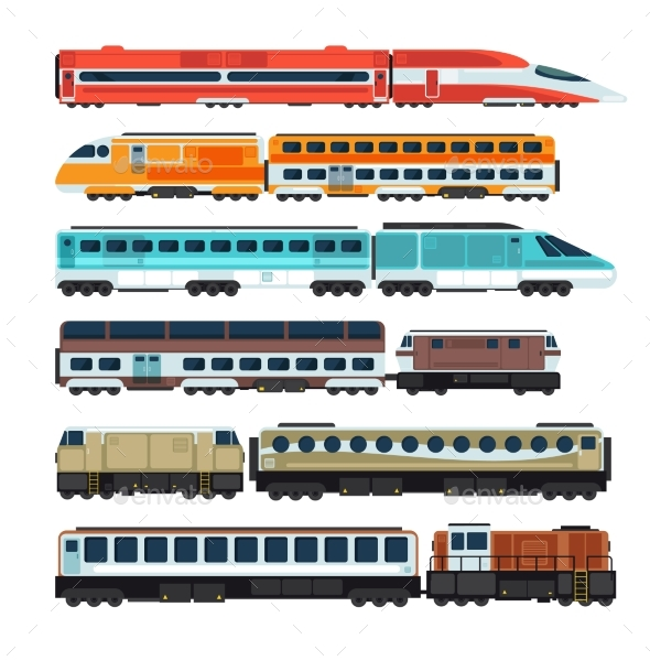 Railroad Passenger Trains and Carriages - Man-made Objects Objects