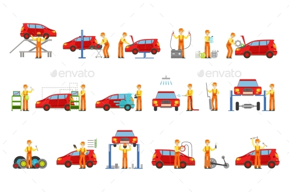 Car Repair Shop Services Set Of Illustrations - Man-made Objects Objects