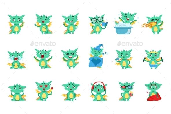 Little Dragon Emoji Set - Animals Characters