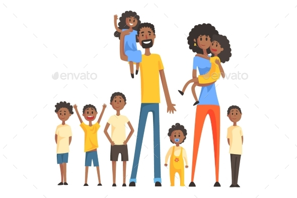 Happy Black Family With Many Children Portrait All - People Characters