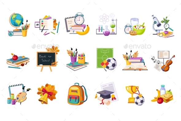 School and Education Related Sets of Objects - Miscellaneous Vectors