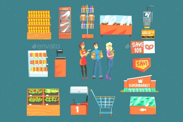 People Shopping for Groceries in Supermarket - Food Objects