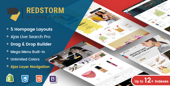 RedStorm - Creative Drag & Drop Sectioned Responsive Shopify Theme