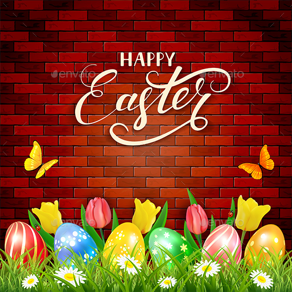 Easter Eggs and Tulips on Brick Wall Background - Miscellaneous Seasons/Holidays