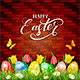 Easter Eggs and Tulips on Brick Wall Background - GraphicRiver Item for Sale