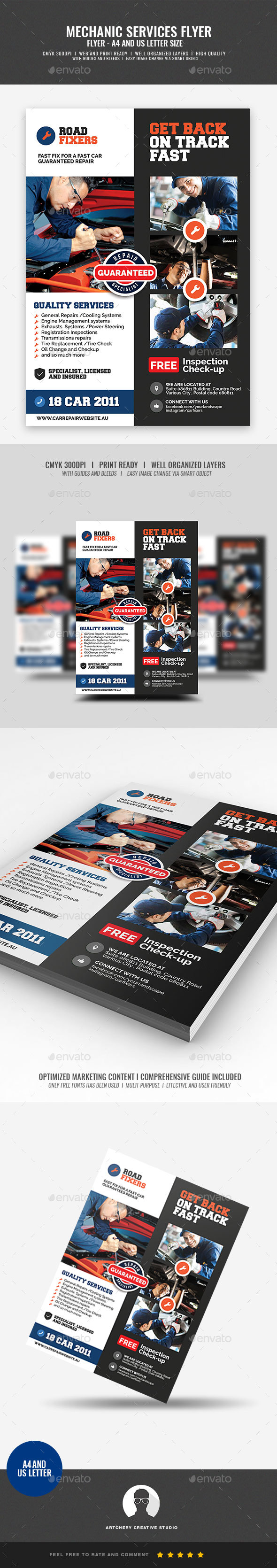 Car Mechanic Service Flyer - Corporate Flyers