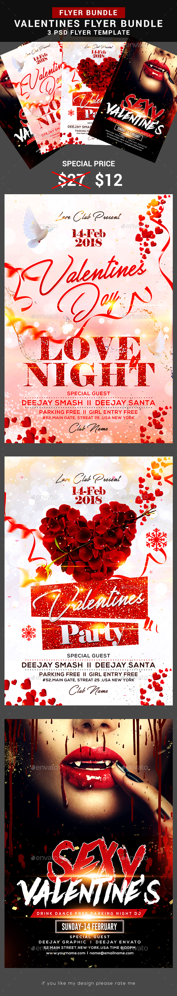 Valentines Day Bundle - Events Flyers
