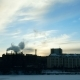 Winter City on the River. From the Chimney of the Plant Comes Thick Smoke - VideoHive Item for Sale