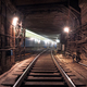 Passing train in the underground tunnel - PhotoDune Item for Sale