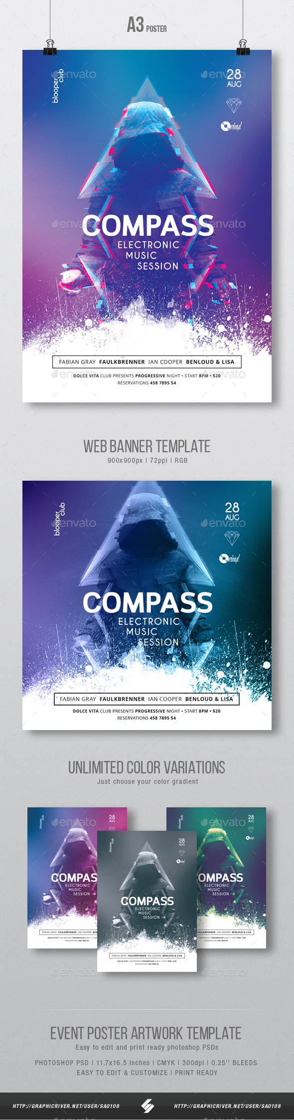 Compass - Progressive Party Flyer / Poster Template A3 - Clubs & Parties Events
