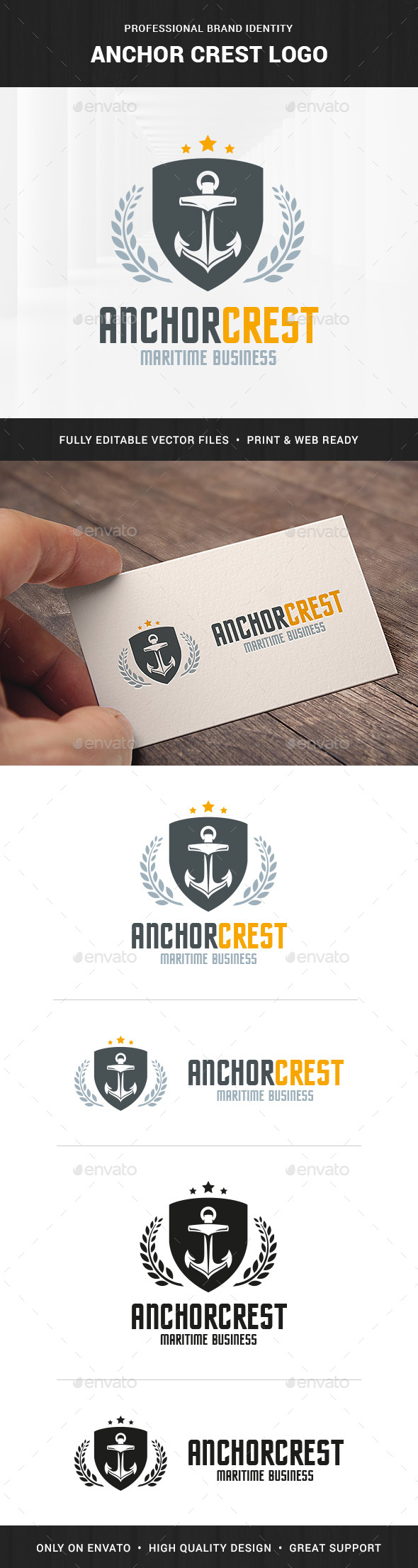 Anchor Crest Logo Template - Crests Logo Templates