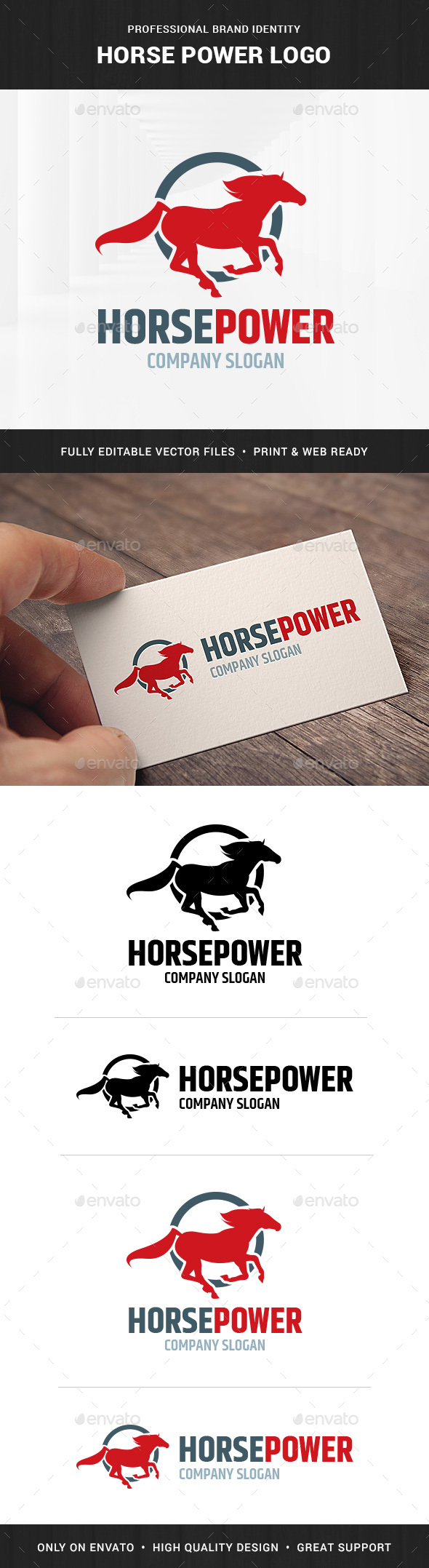 Horse Power Logo Template - Animals Logo Templates