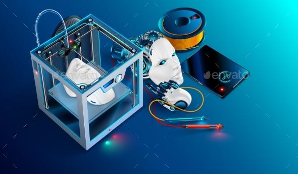 3d Printing Workshop. 3d Printer Printed Robot - Industries Business
