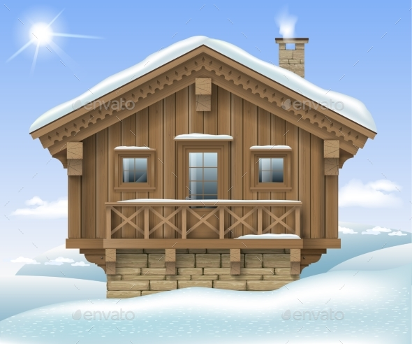 Wooden House in the Winter Mountains - Buildings Objects