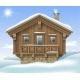 Wooden House in the Winter Mountains - GraphicRiver Item for Sale