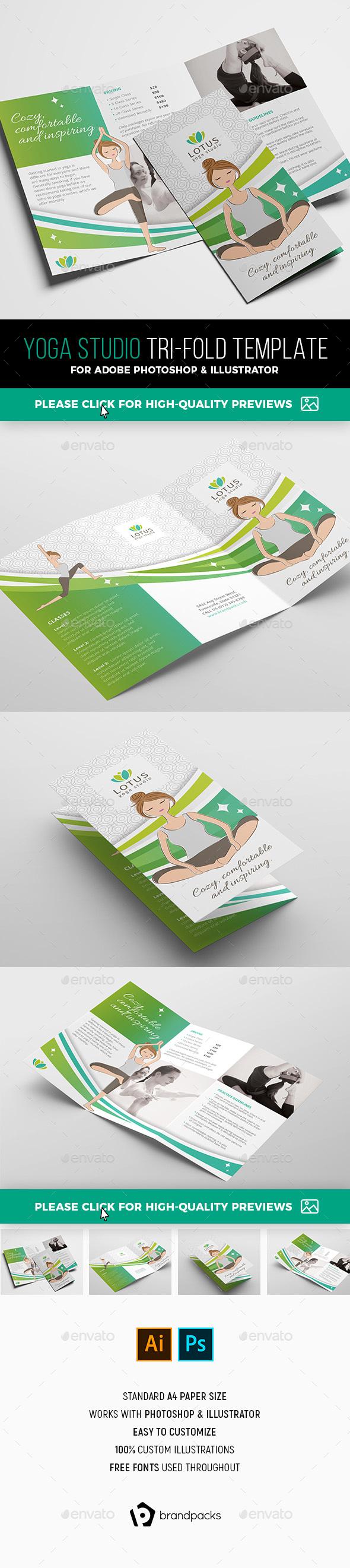 Yoga Studio Tri-Fold Brochure Template - Informational Brochures