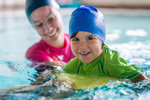 Little boy on swimming class - Stock Photo - Images