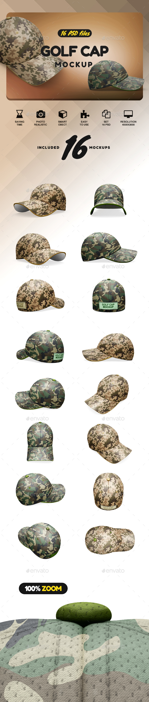Golf Cap Mockup - Product Mock-Ups Graphics