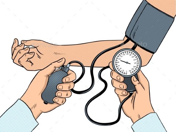 Measurement of Human Pressure Pop Art Vector - Health/Medicine Conceptual
