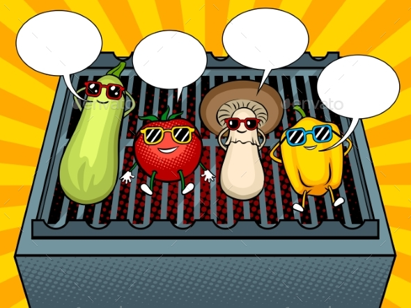 Vegetables on BBQ Pop Art Vector Illustration - Food Objects