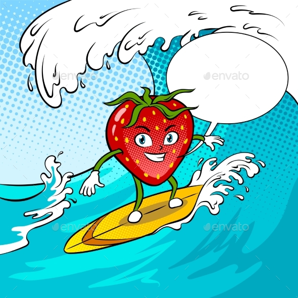 Strawberry Surf Sea Pop Art Vector Illustration - Food Objects