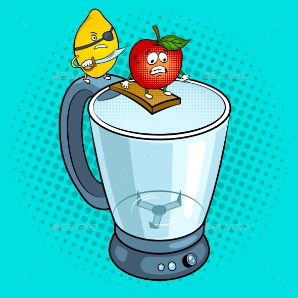 Lemon Pirate and Apple Pop Art Vector Illustration