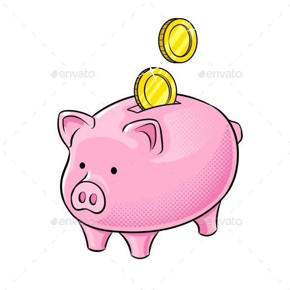 Piggy Bank and Golden Coins Pop Art Vector - Man-made Objects Objects