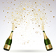 Greeting Card with Champagne and Gold Confetti Salute - GraphicRiver Item for Sale