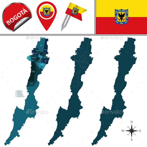 Map of Bogota with Subdivision - Travel Conceptual