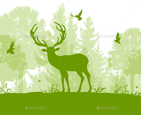 Nature Landscape with Deer - Animals Characters