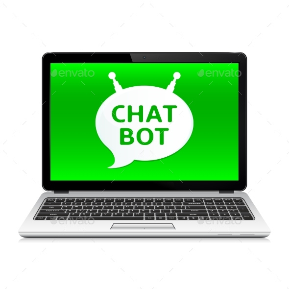 Chat Bot App on Laptop Screen - Computers Technology
