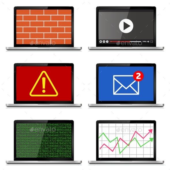 Modern Laptops Set - Computers Technology