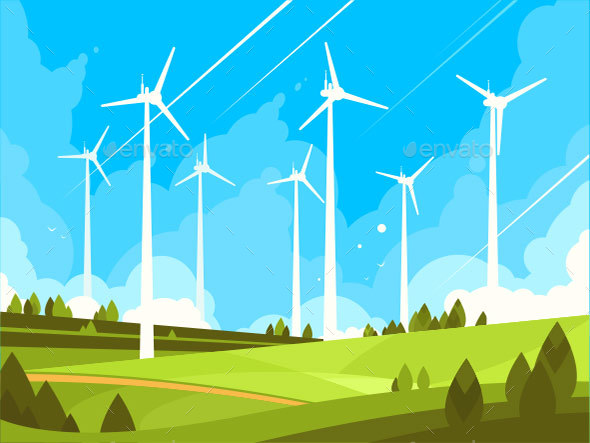 Windmills on Green Fields - Miscellaneous Vectors
