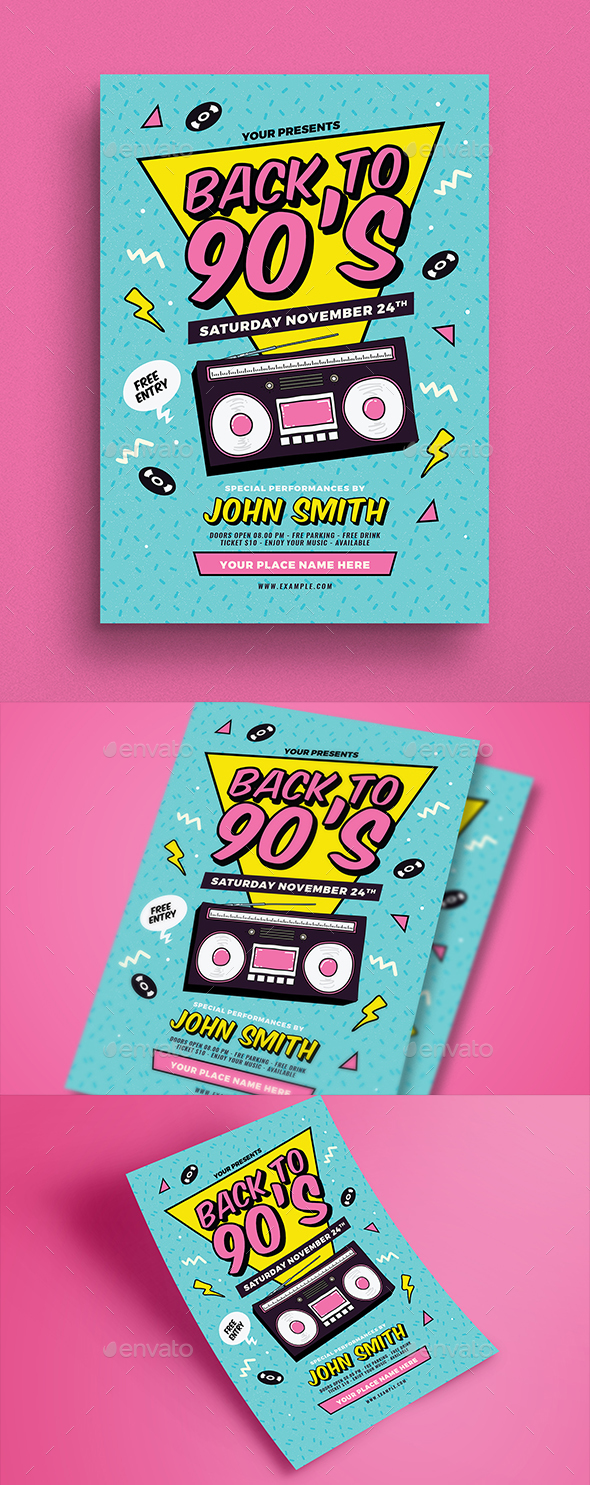 Back to 90's Event Flyer - Events Flyers