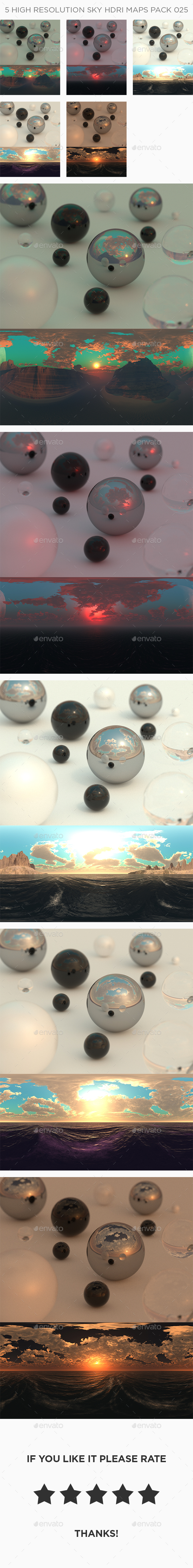 5 High Resolution Sky HDRi Maps Pack 025 - 3DOcean Item for Sale