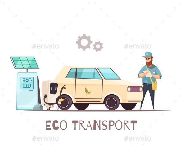 Eco Transportation Vehicle Cartoon Illustration - Industries Business