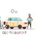 Eco Transportation Vehicle Cartoon Illustration