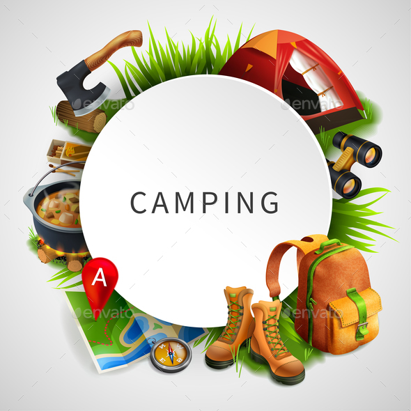 Camping Colored Composition - Sports/Activity Conceptual