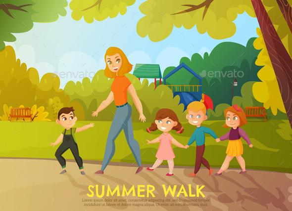 Kindergarten Summer Walk Illustration - Flowers & Plants Nature