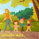 Kindergarten Summer Walk Illustration
