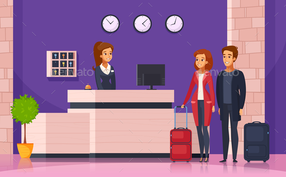 Hotel Reception Cartoon Background - People Characters