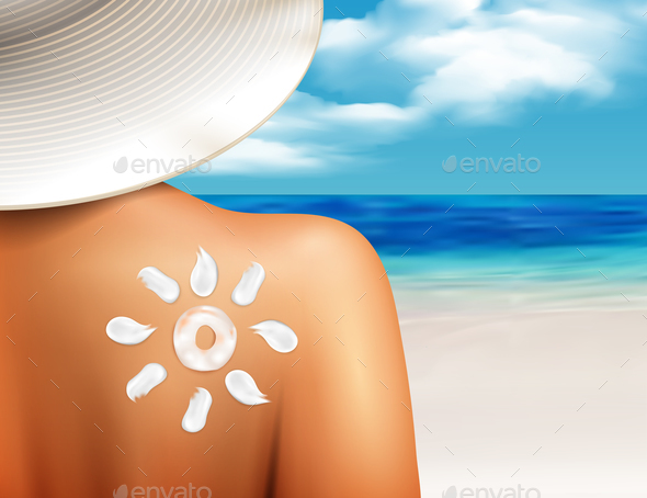 Sun Cream On Shoulder Realistic - Health/Medicine Conceptual