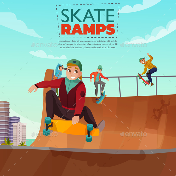 Skate Ramp Cartoon Illustration - Sports/Activity Conceptual