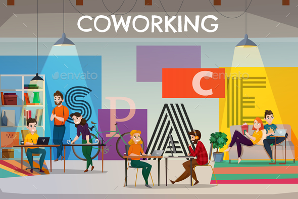 Open Space Coworking Poster - Miscellaneous Vectors