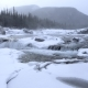 Snowy Winter River Waterfall in Snowstorm - VideoHive Item for Sale