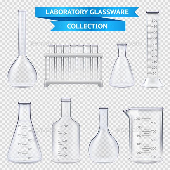 Realistic Laboratory Glassware Collection - Health/Medicine Conceptual
