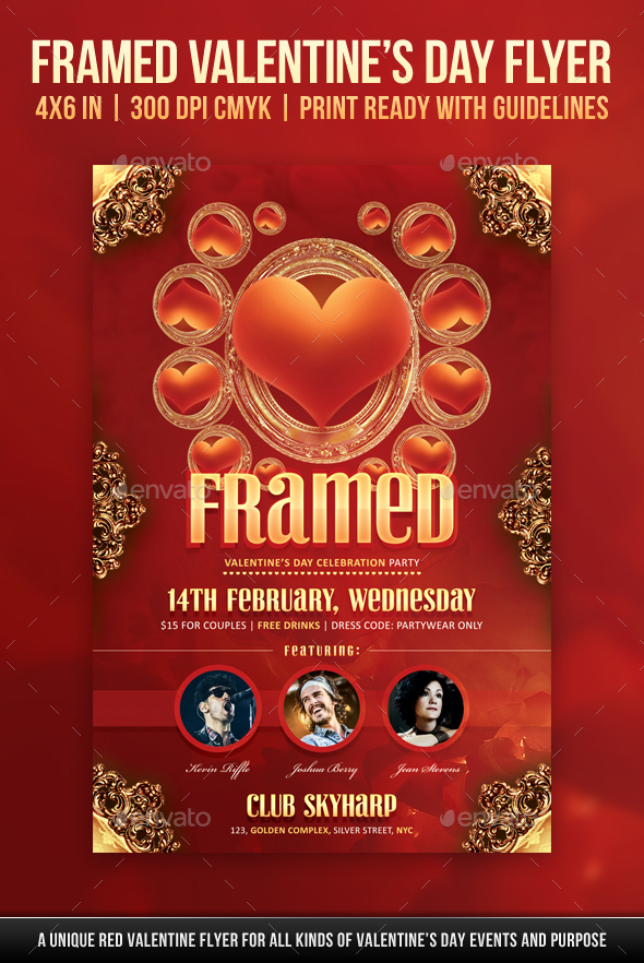 Framed Valentines Day Flyer - Holidays Events